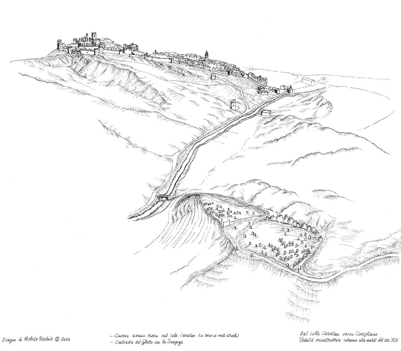 Disegno di Michele Potocnik - Veduta ricostruttiva intorno metà sec. XIX
